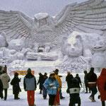 ⑥冬の一大イベント札幌雪祭り、始末に困る雪を集めて観光資源に、見事な雪像が勢ぞろい(北海道札幌市)