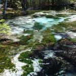 ①上高地・岳沢、河童橋の正面にみえる穂高岳の懐から梓川に流れ込む岳沢、白い砂の河床と緑の水藻のコントラストが絶妙。