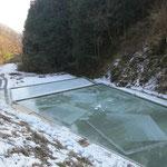 ①「氷池」と呼ばれる天然氷の採氷所(埼玉県長瀞町