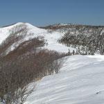 ③雪庇の発達した稜線、ウサギの足跡が続く