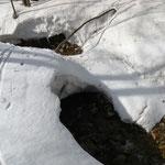 ⑥雪解け水の流れる沢、スノーブリッジは細くなった。