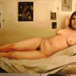 2008-09/ Algo mas del desnudo, 160 x 80 cm. óleo.