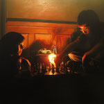 """2009- """"El juego"""". 96 x 130 cm. Oil on canvas"""