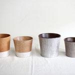 木のカップ   厚み80ミリサイズ (一番左) 桜 9.800円 ・(左から3番目)ウォールナット 10.000円