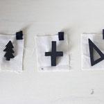 ivory+ x Buaisou.   藍染め 樹木ブローチ ・ 十字架ブローチ ・ さんかくブローチ         /各3.200円
