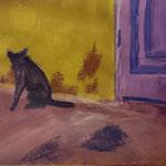 Katze vor Hauswand, Acryl, A3