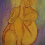 Frau in Orange, Tusche  auf Papier, A3