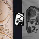 Beschnitztes Nudelholz zum bedrucken von Textilien