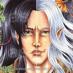 "Scan of the finished aceo pair ""Only half the truth"". Thanks for watching :)"