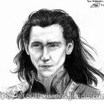 """Tom Hiddleston / Loki Study #3"" - Pencil & black colored pencil. His haaaair >///u///<  I love his hairstyle in Thor 2 <3"