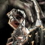 Dorian Gray, Detail / Öl, Gold, Spiegelscherben auf Leinwand / 1,50m x 1,20m