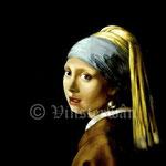 """Vermeer, """"Das Mädchen mit dem Perlenohrring"""", Öl auf Leinwand"""