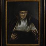 """Rembrandt, """"Studie Alte Frau, ein Buch lesend"""", Öl auf Leinwand"""