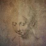 """Da Vinci, """"Kopfstudie"""", Silberstift auf Papier"""