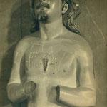 """San Juan sin manos y con la inscripción """"FAI"""" en el pecho (Convento de las Concepcionistas)."""