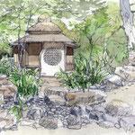 萱葺茶室、復元イメージ teahouse, restore image