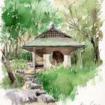 四阿、白鳥庭園、滝口