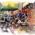 夕刻のカフェ