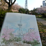 スケッチ・ツアー、久屋公園にてTV塔と桜