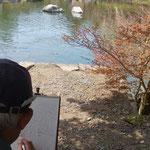 水辺の桜を描くF氏