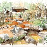 清羽亭の露地、白鳥庭園