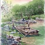 伝馬船、白鳥庭園
