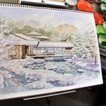 雪の晴羽亭、白鳥庭園