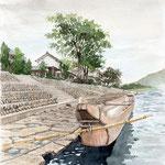landscape with ukai boat