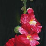 Stockrose (Ölfarben) 40x80 cm, verkauft