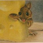Maus mit Käse (Farbstift), verkauft
