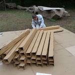 2013年11月9日 飯盛山イベントでの設営のようす(ポールの組立)