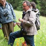 Wolfgang Dietrich erklärt die Besonderheiten dieser Bergwiesen