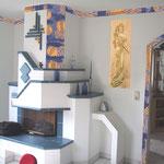 """Wohnzimmer - Living room """"Raumgestaltung Blau-Gold"""""""