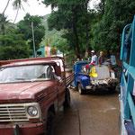 Mobiler Fischmarkt blockiert die Straße