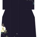「牡丹に蝶」・濃紺