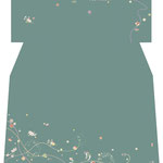 「組紐に小花散らし」・緑青