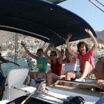 In einem Hafen von Kalymnos, wir begrüßen das Meer