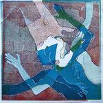 übermalte Holzschnittmonotypie, 2011, 50 x 50 cm