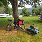 Setup Erwachsenen-Fahrrad mit Fahrradanhänger