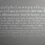 Poème Pinocchio, calligraphie humanistique sur Canson gris. Encadré A3. 80 euros