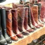 es gibt viele Stiefel in der Mongolei, der klassische Stiefel hat kein rechts und links, sondern kann beidseitig getragen werden, das hat zum Vorteil, dass wenn der Stiefel auf der Innenseite durch das Reiten abgewetzt ist, wechselt man die Schuhe