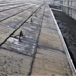 ③スレートと雪止金物の状況。右側は元は透明ポリカの通路屋根。