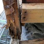 ③釘打ち方の不適正と防水不良からの木材腐食。
