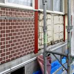 ⑤木枠を含め内部と外壁材(煉瓦模様はやめて)を貼替え。