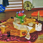 ein kleiner Altar in der Mitte unseres Raumes für den Heilkreis