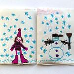 Zunaj sneži in Eva je naredila snežaka.