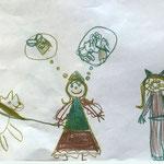 Desno je nabrž Eva v pustnem kostumu - mačka