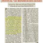 """Le Dauphiné Libéré / """"Au bonheur des Mômes"""" du Grand Bô / 23 Août 2011"""