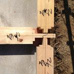 土台の交差部。5寸の通し柱は基礎に直接建てます。