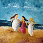 Acry 10 x 10 Frauen am Strand